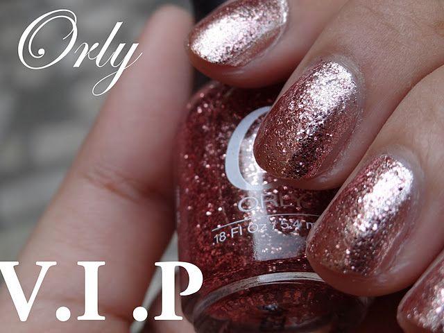 Orly VIP glitter varnish so cute over my Sally Hansen pinky nude colour