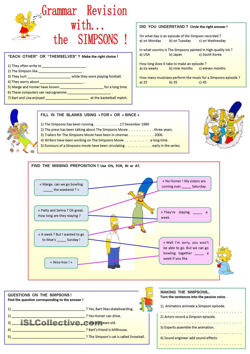 Worksheets Fun Grammar Worksheets have fun with the simpsons poon pinterest worksheets this worksheet can be divided into 2 parts reading activities grammar revision for since each other themselves place p