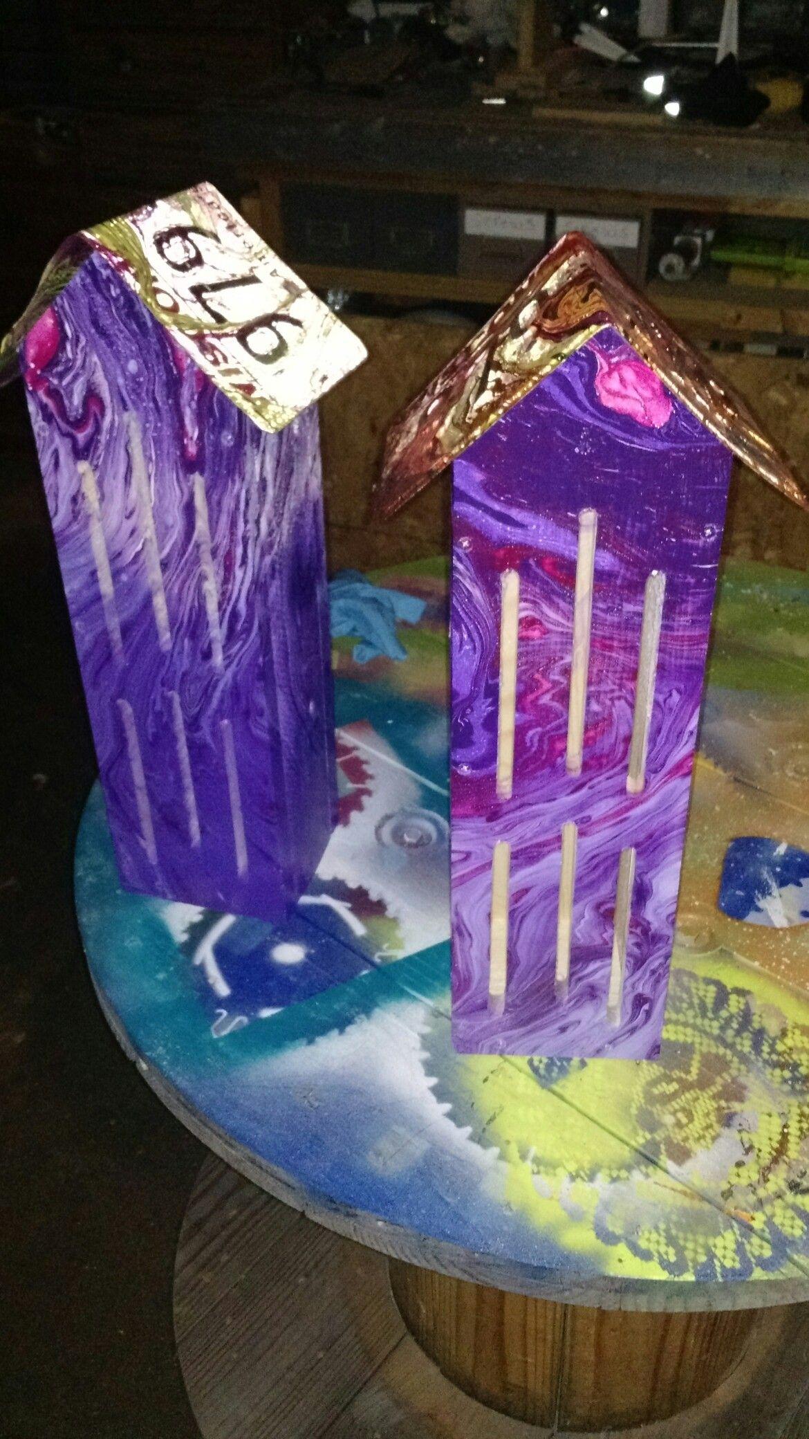 Purple butterfly houses