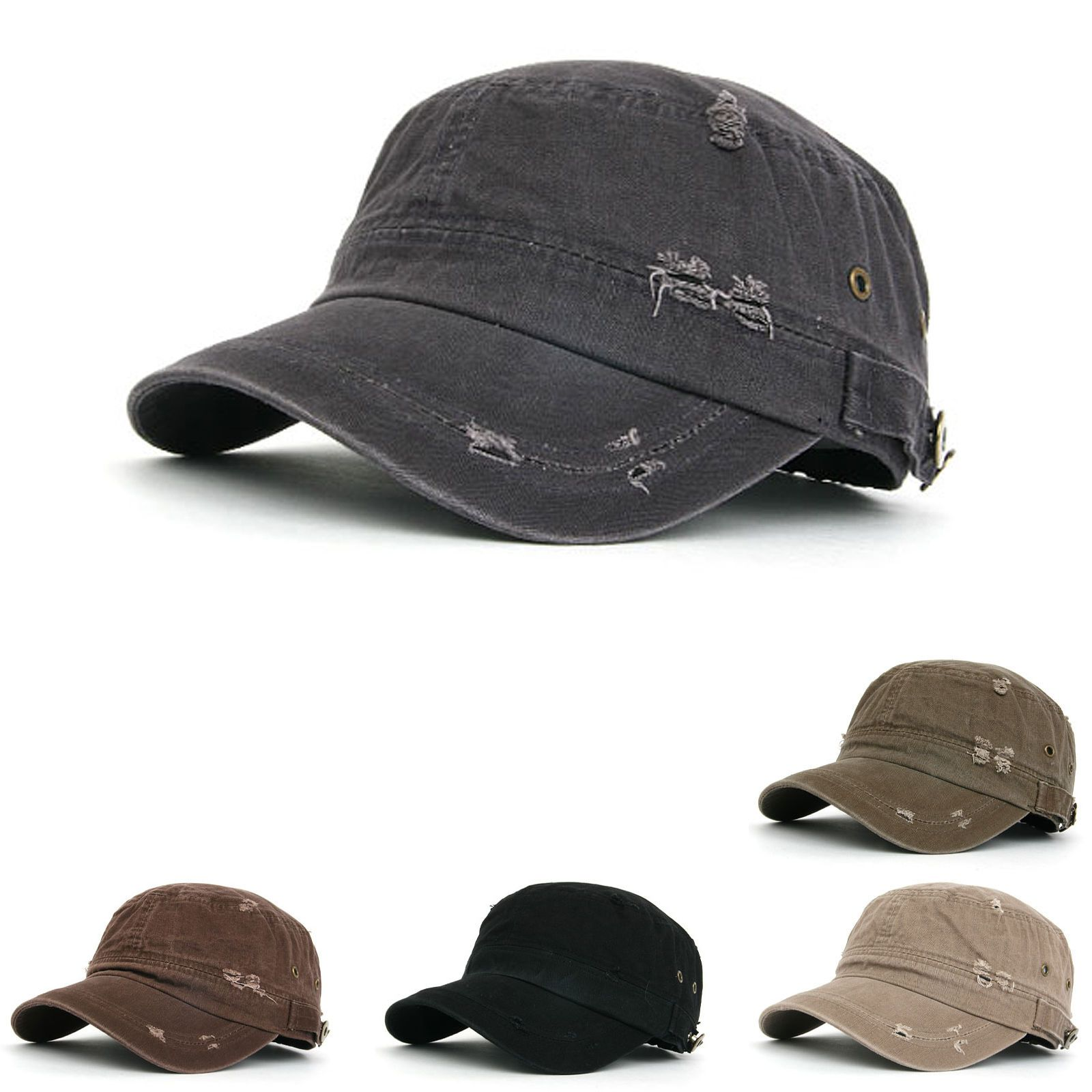 5f5e29fdbf0 Mens Womens Classic Distressed Vintage Army Military Cadet Patrol Castro Cap  Hat