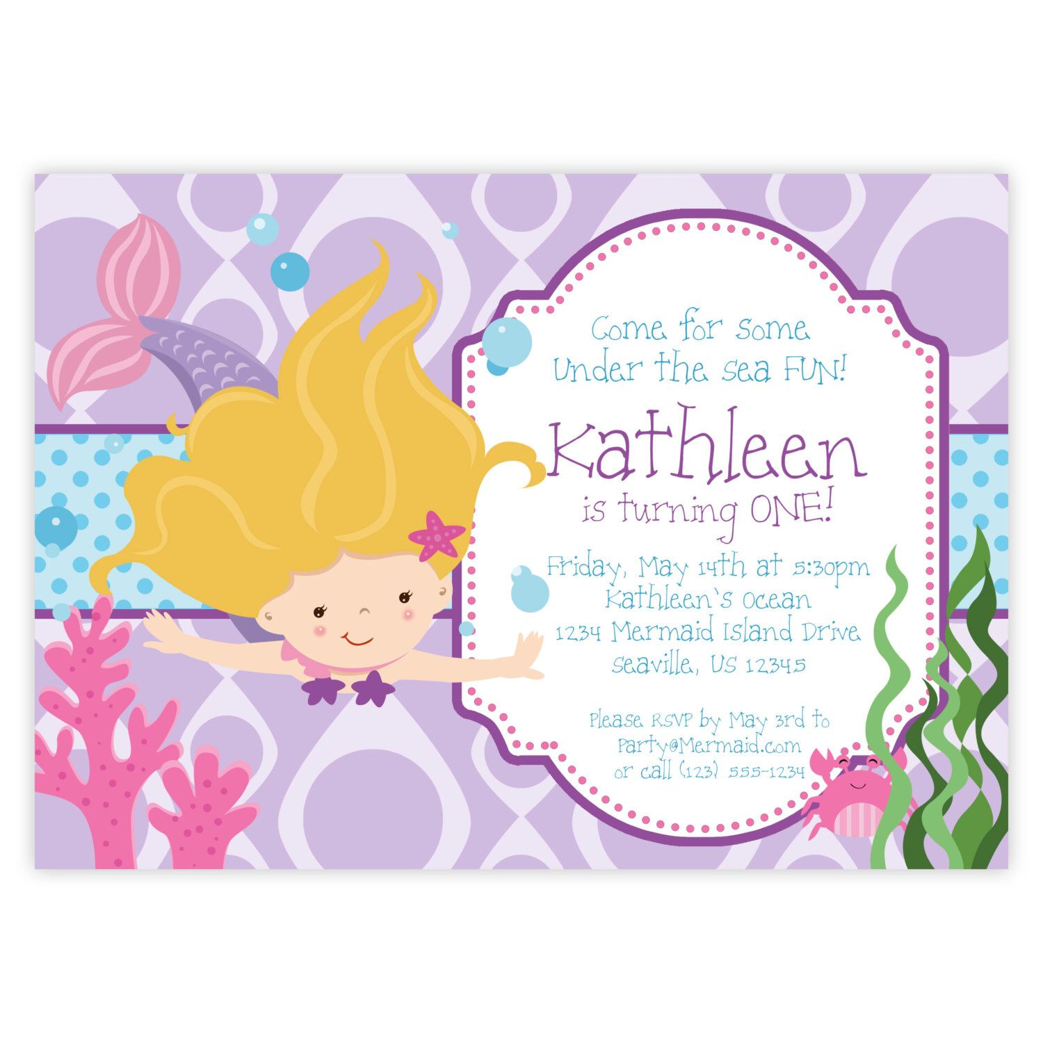 Mermaid Invitation - Purple Bubble, Blue Polka Dots, Blonde Girl ...