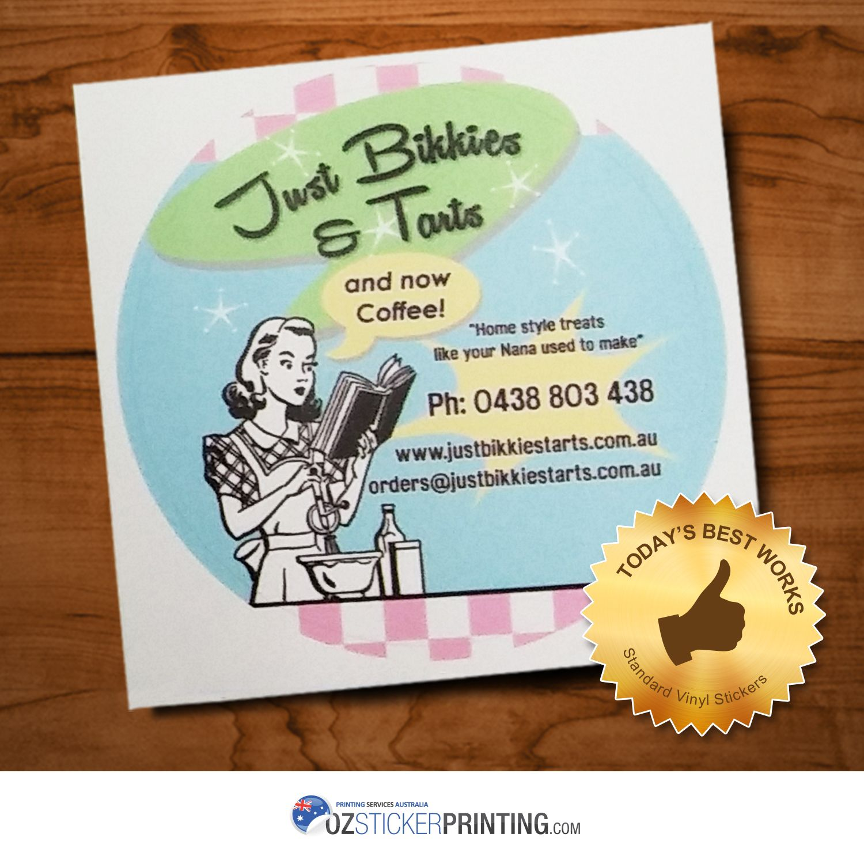 Just bikkies tarts 60mm gloss paper stickers paperstickers stickerprinting customstickers glosspaperstickers au sydney