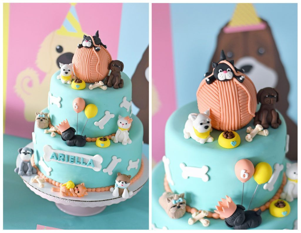 Puppy And Kitten Cake In 2020 Puppy Birthday Cakes Dog Birthday Cake Kitten Cake