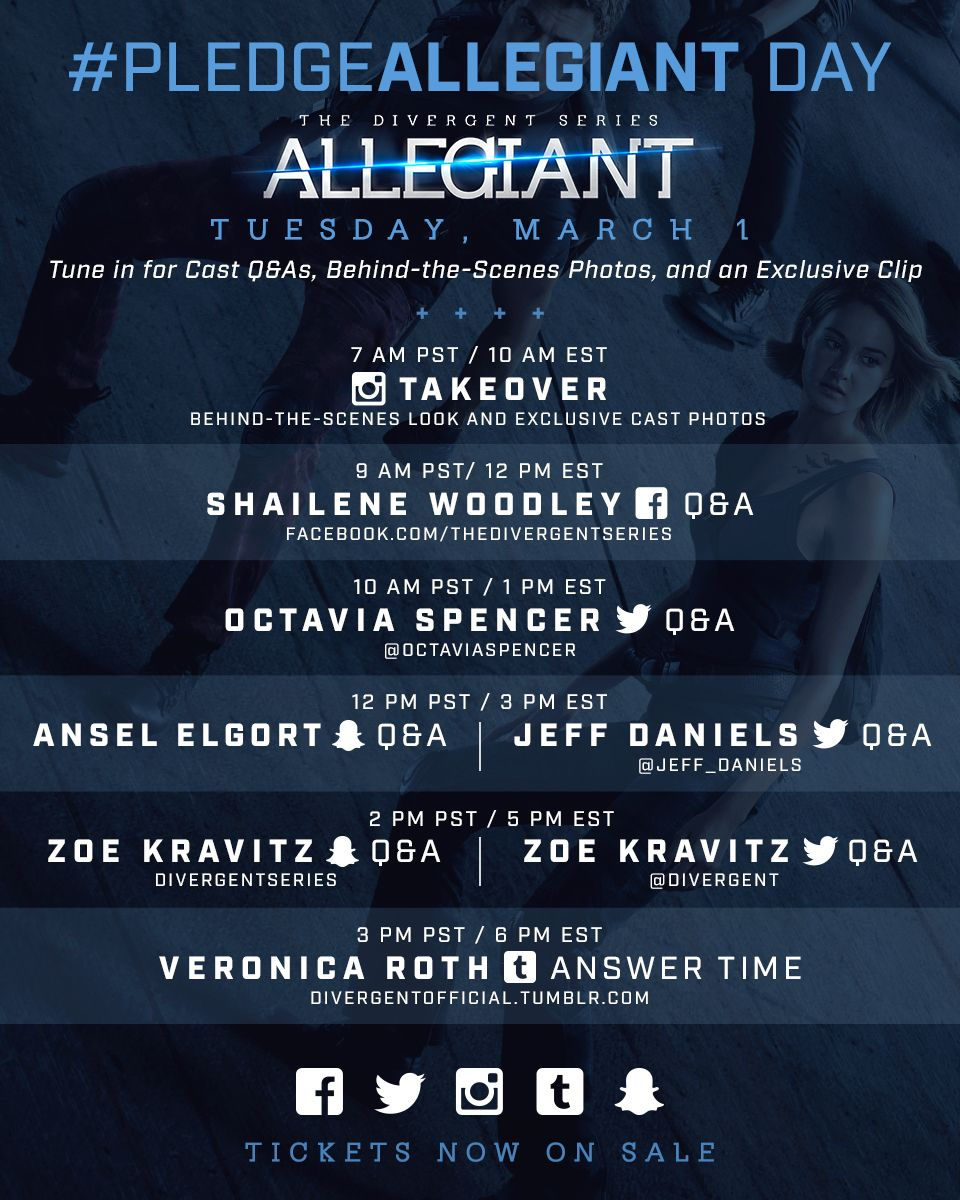 Get excited for #PledgeAllegiant Day ! Submit your questions using #AskPledgeAllegiant and tune in next week!