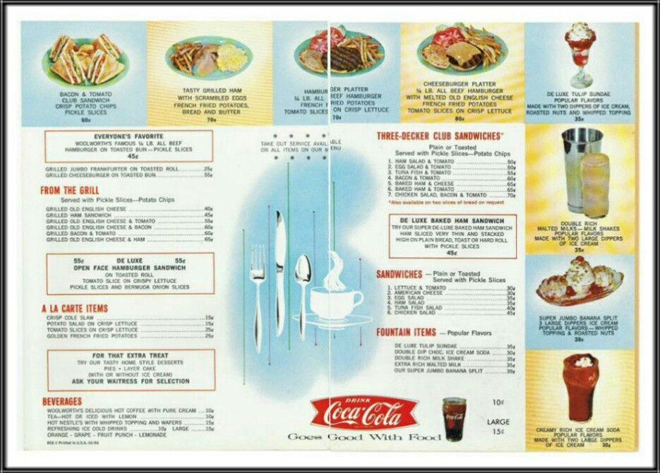 F W  Woolworth Co : Lunch Counter Menu (1964) | F  W