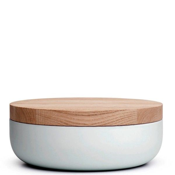 When Objects Work Van Duysen Container LG Warm Grey Lid 3. Pottery by Belgian minimalist architect Vincent van Duysen for the Belgian company When Objects Work. Beautiful earthenware container with a sandblasted oak lit. Serene, sober, abstract and archetypical.