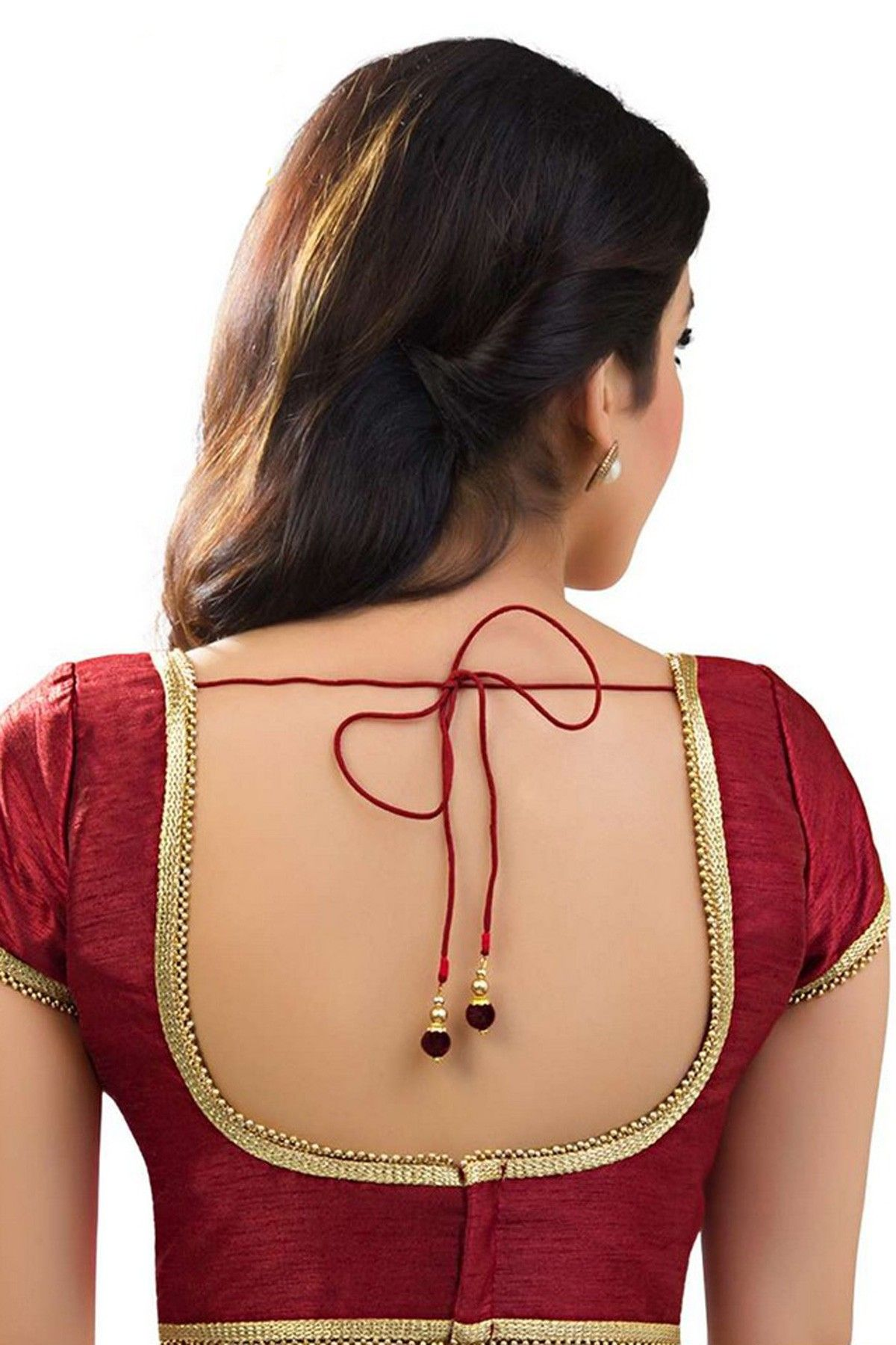 Blouse designs saree blouse back designs blouses neck designs 30 jpg -  Maroon Raw Silk Designer Blouse With Trendy Back Deep U Neck Bl749