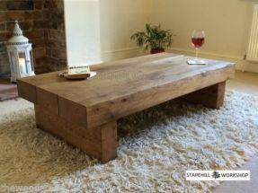 Oak Beam Sleeper Coffee Table Solid Rustic Handmade Chunky Wood