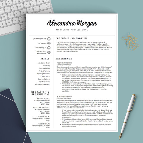 Professional Resume Template for Word  Pages by TheTemplateStudio - modern resume tips