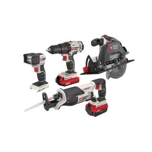4 Tool Combo Kit Set 20v Cordless Circular Reciprocating Saw Drill