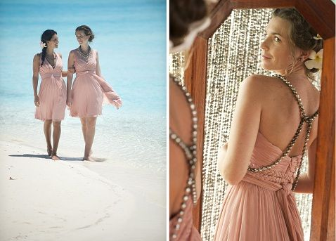Breathtaking blush pink destination wedding dresses by Cecilie Melli, available to rent at St. Regis Bora Bora.