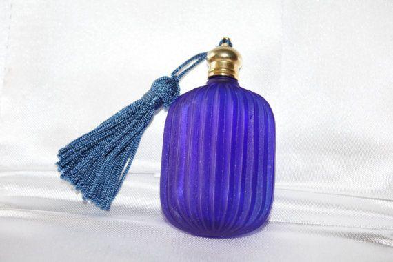 Cobalt Blue Perfume Bottle Glass Miniature Purse 1970s by patwatty, $30.00