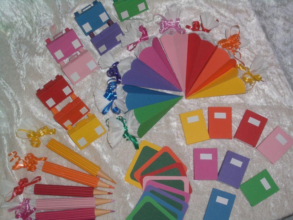 XL Tischdeko Set Schultte Mappe Stift Tischkrtchen Bcher Einschulung Deko in Bro