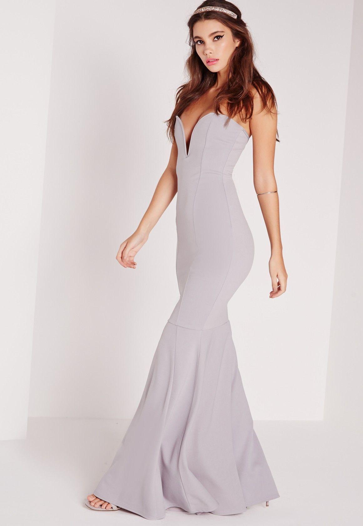 Missguided - Scuba Bandeau Fishtail Maxi Dress Grey