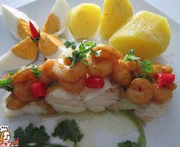 Bacalhau do mar com molho de camarão  http://receitasfaceisrapidasesaborosas.blogs.sapo.pt/76090.html