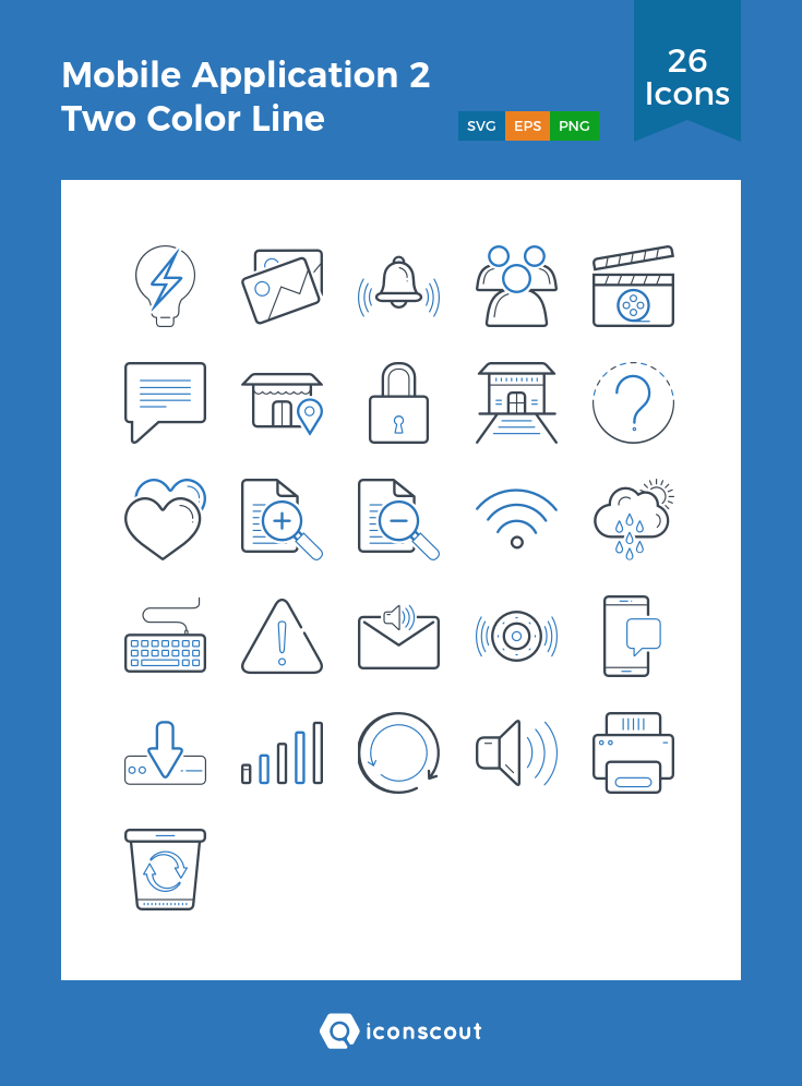 Download Mobile Application 2 Two Color Line Icon Pack Available In Svg Png Eps Ai Icon Fonts Color Lines Line Icon Icon Pack