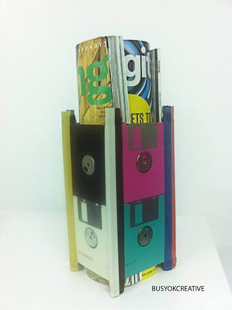 Diy Floppy Disks Magazine Holder Objetos Reciclagem Sininho