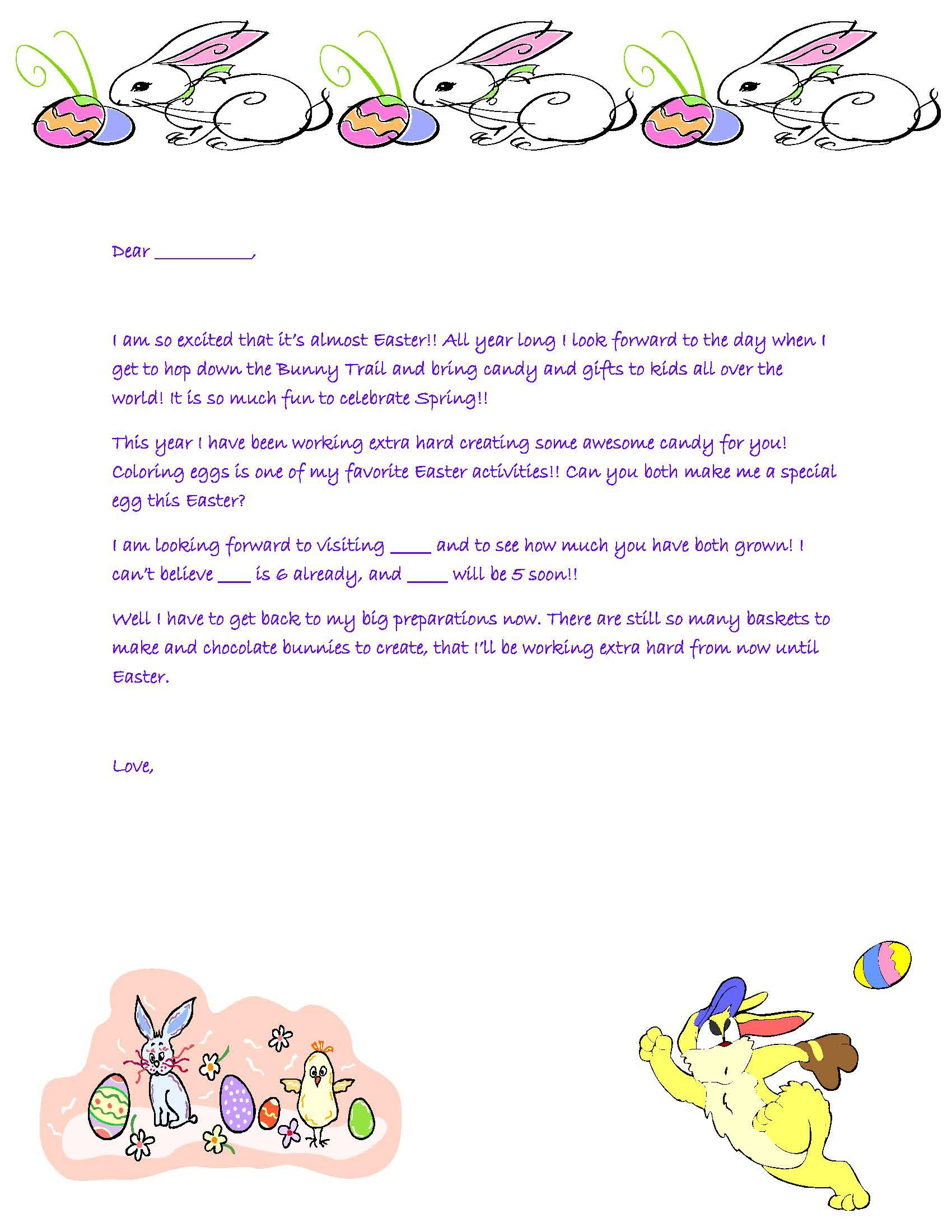 Letter From Easter Bunny   Easter Bunny Letters