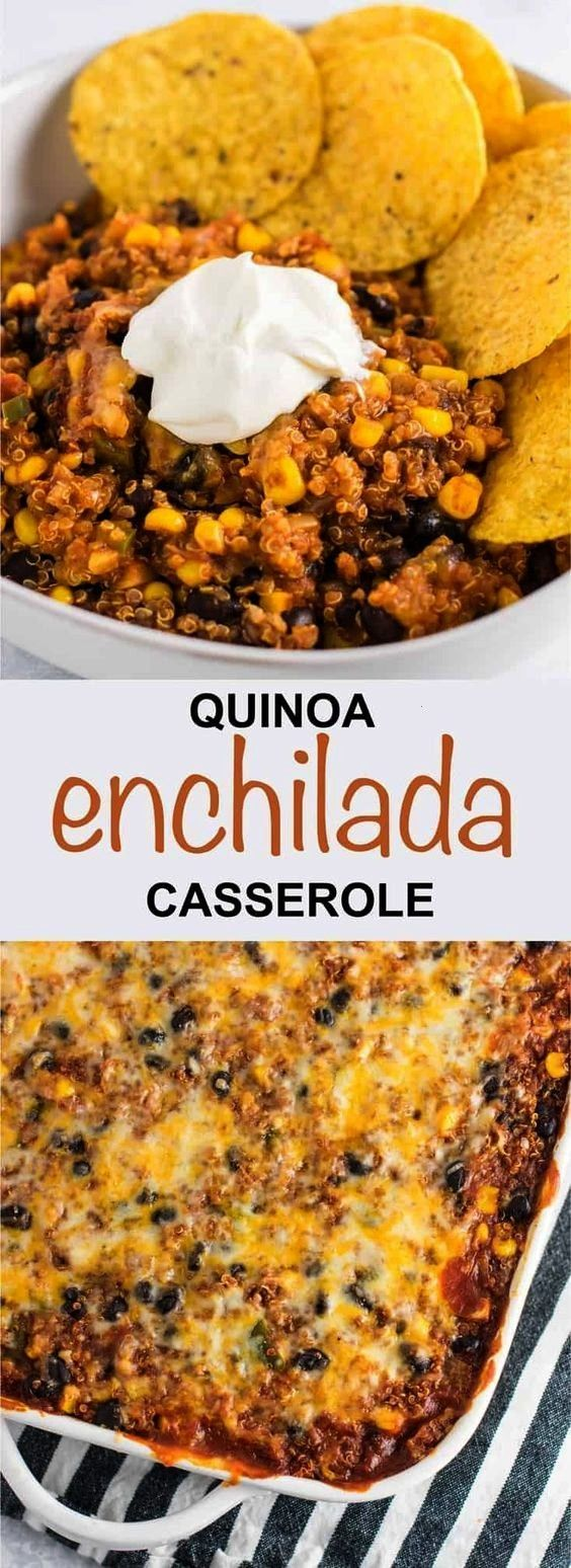 Mexican quinoa enchilada bake is packed full of veggies and flavor. Cheesy ... -  This Mexican quin