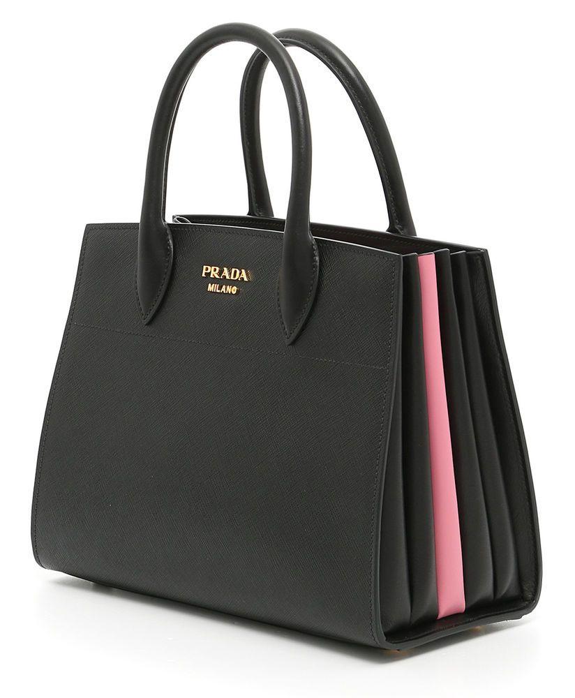 Prada Bag 1ba050 City Bicolor 2evu Bibliothèque Black Saffiano Pink r4SrY