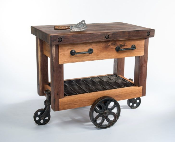 Perfect Unique Old Style Small Industrial Kitchen Cart On