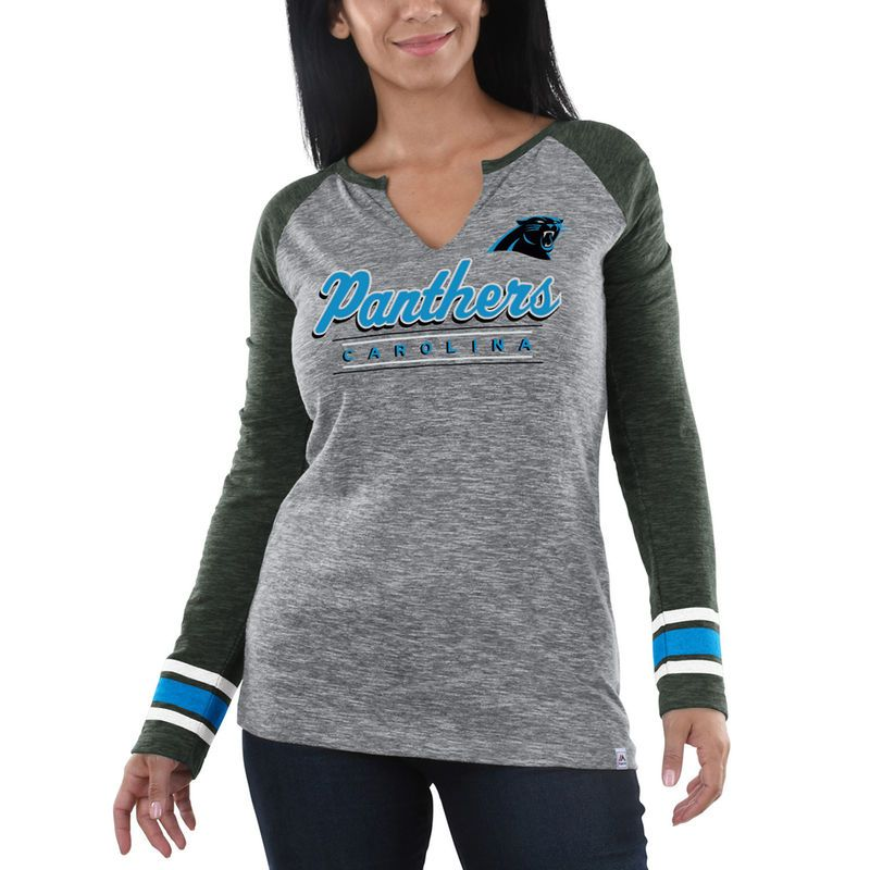 Carolina Panthers Majestic Women s Lead Play Long Sleeve V-Notch T-Shirt -  Heathered Gray Charcoal bcc690c0f