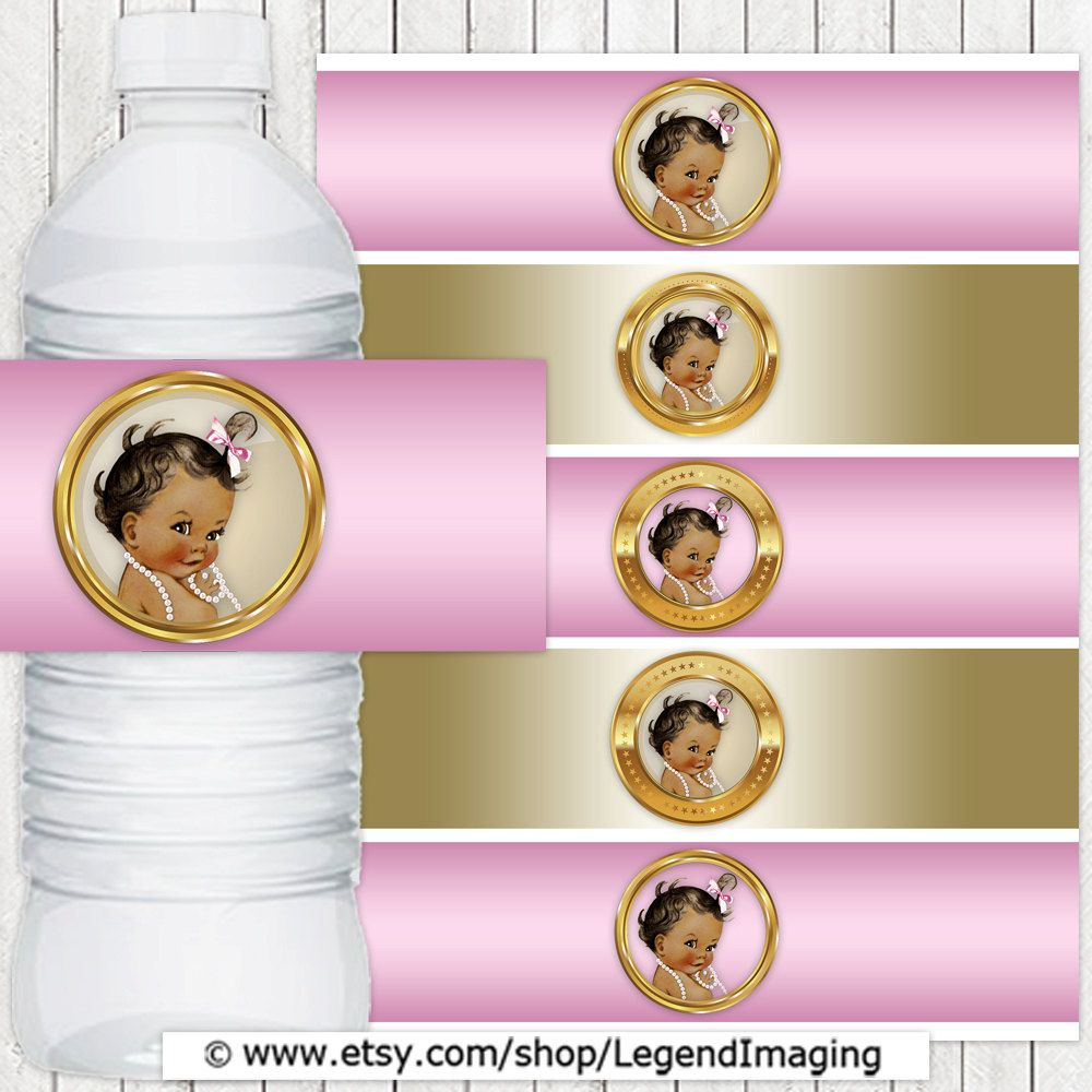 Pink Gold Pearl Ethnic Girl Baby Shower Water Bottle Labels Ethnic
