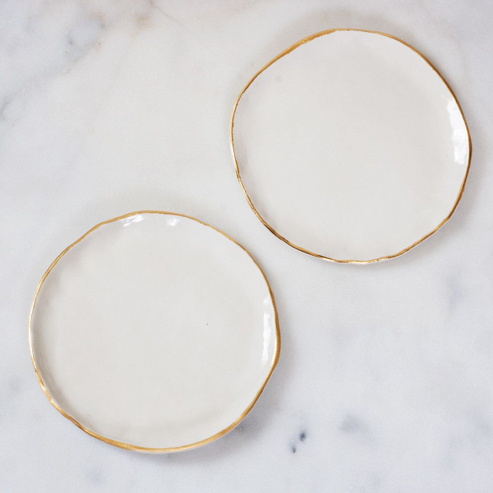 dessert plates in white and gold (set of two)  gold set studio  - dessert plates in white and gold (set of two)  gold set studio and gold