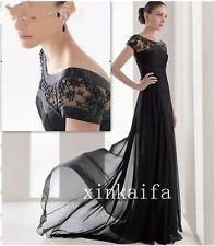 Beautiful 2013 Custom Made Chiffon Short Sleeve Black Evening Dress With Beads