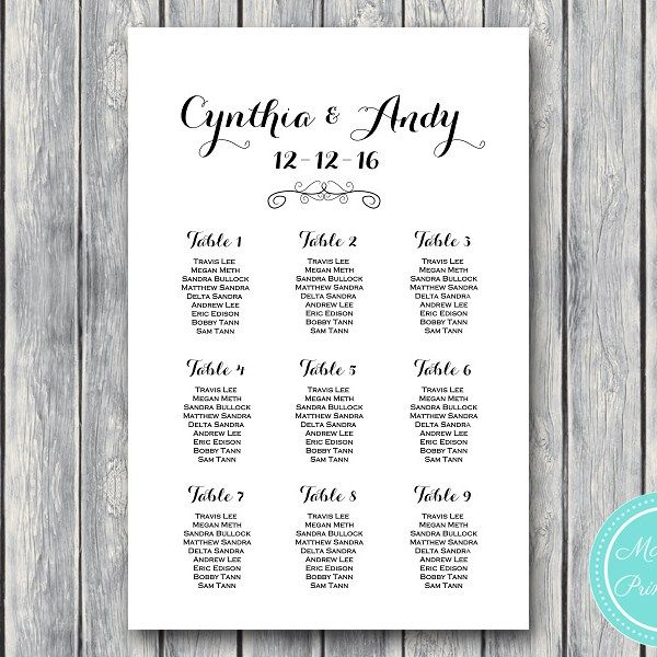 CUSTOM Stylish Wedding Seating Chart Printable wd09 Wedding - free printable seating chart