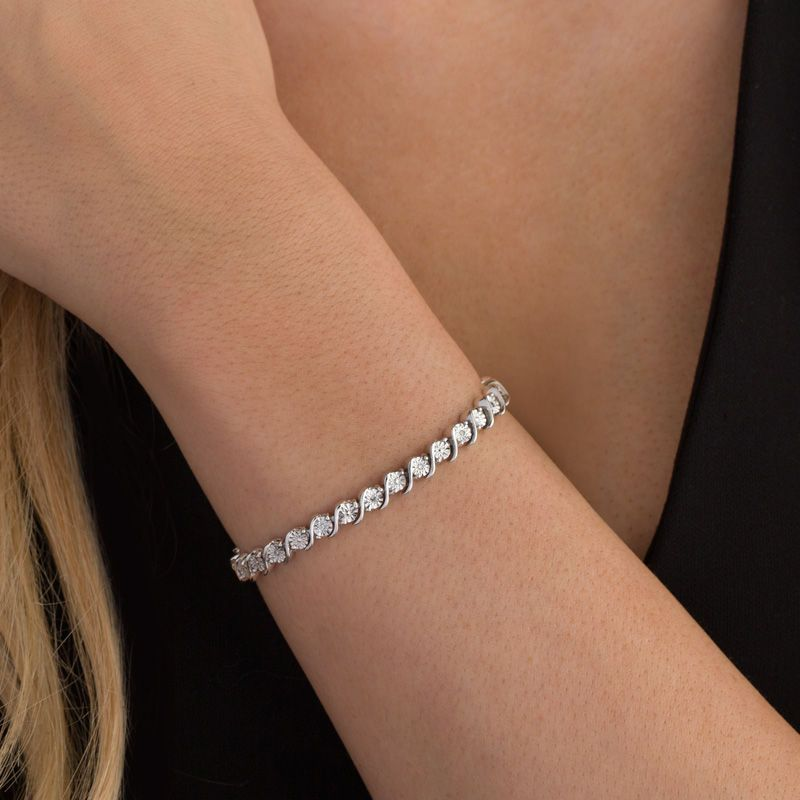 Wear This Smart Diamond Tennis Bracelet Any Time For A Great Touch Of Classic Dazzle Crafted In Sterling Sil Tennis Bracelet Diamond Tennis Bracelet Bracelets