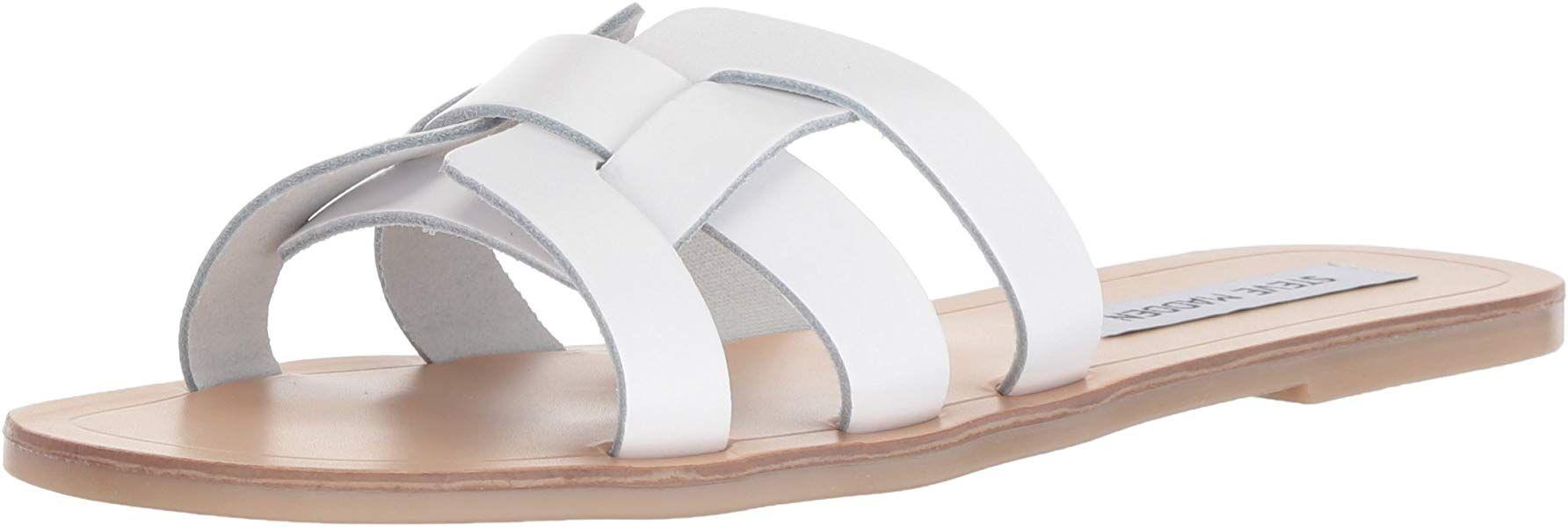 505320163ed2f Amazon.com | Steve Madden Women's Sicily Sandal, White Leather, 8 M ...