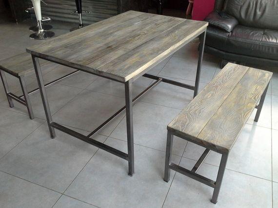 meuble industriel table de salle a manger + banc - 550u20ac Maison - rangement salle a manger