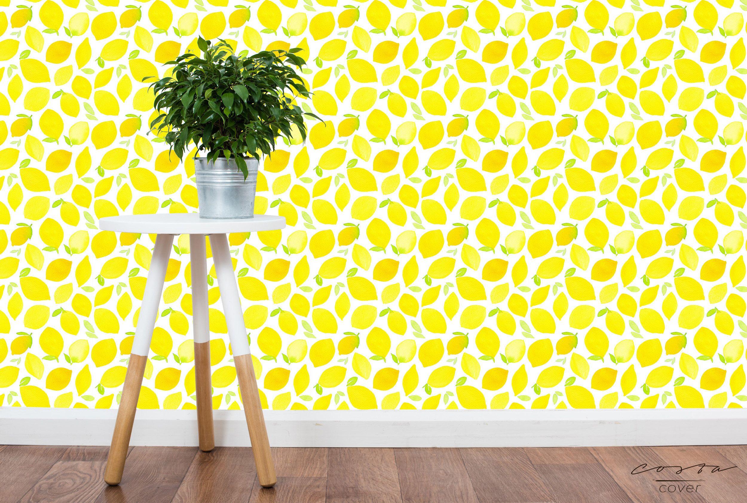 Lemon Wallpaper Watercolor Yellow ...