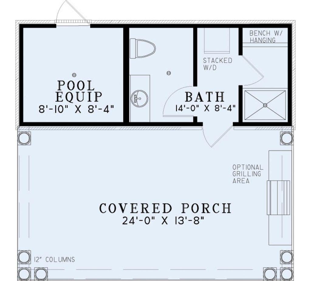 European Style House Plan 0 Beds 1 Baths 117 Sq Ft Plan 17 2585 Pool House Bathroom Pool House Plans Pool House Designs