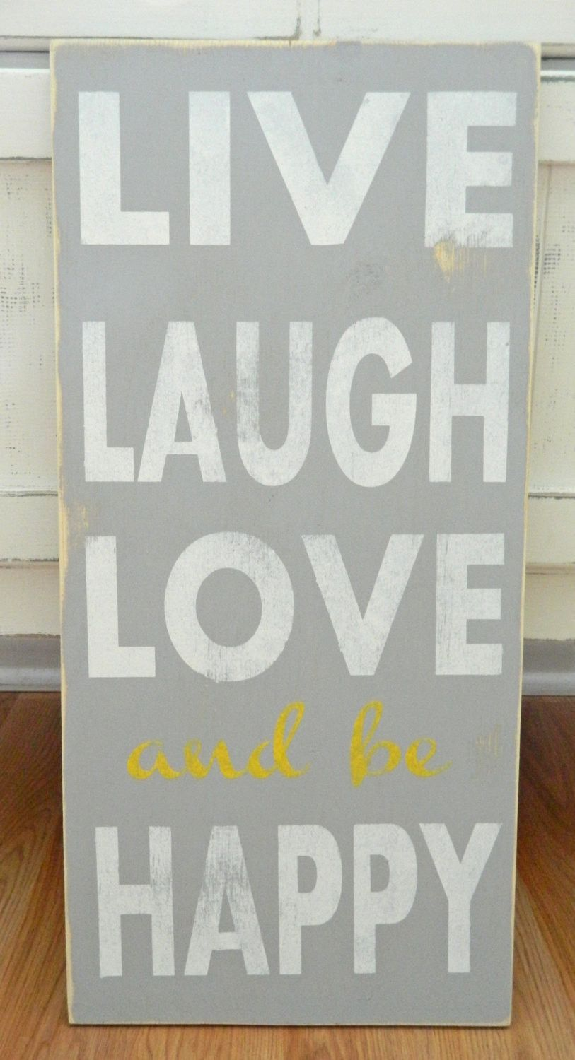 FREE SHIPPING! Live, Laugh, Love and be Happy - Distressed Wood Sign ...
