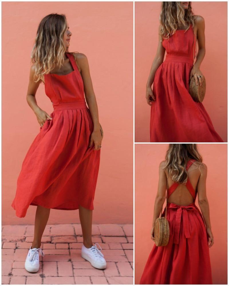 Criss Cross Off Shoulder Sundress Dress In 2020 Elegant Summer Dresses Summer Dresses Sundresses Sundress Dress