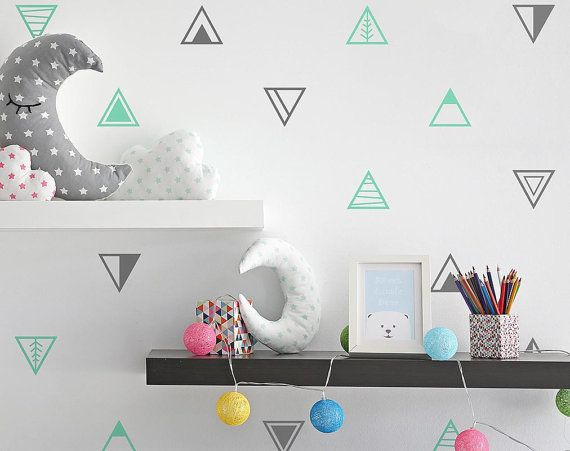 Geometric Triangle Wall Decals - Multi-Colored Wall Decals, Nursery ...