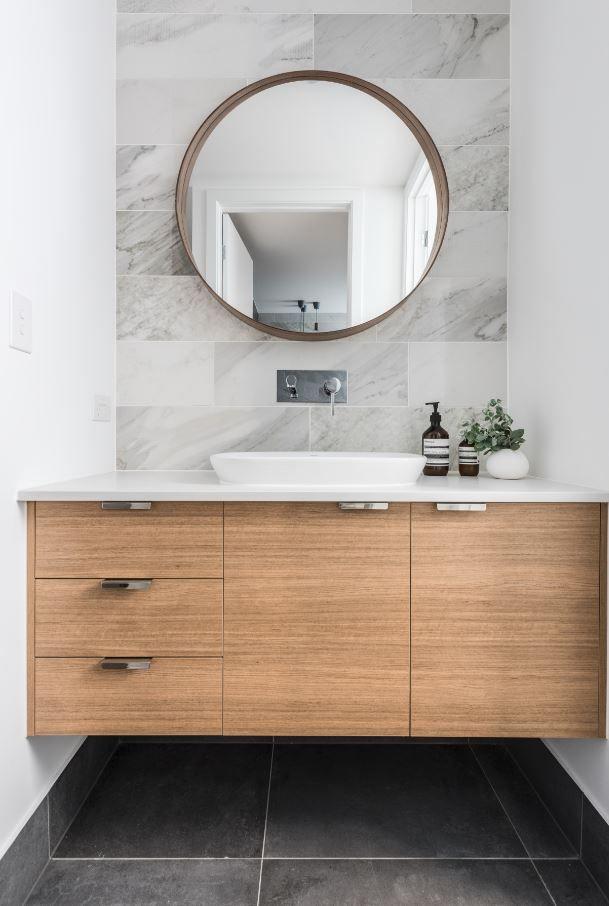 Bad Waschtische Holz Aufsatzwaschbecken Runder Spegel Modern