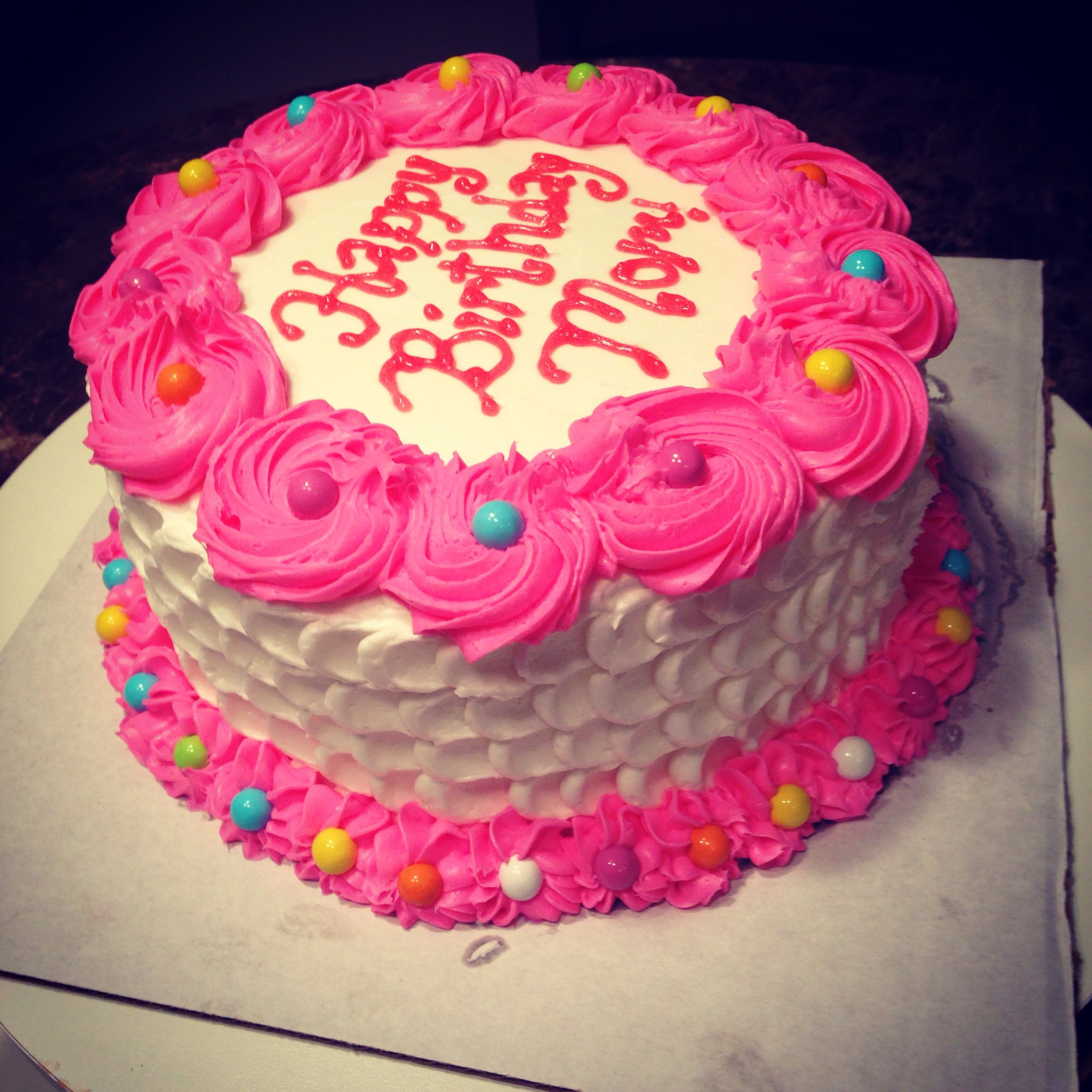 Happy Birthday Mom In Spring Colors With Buttercream Frosting Cakesbykelsey Happy Birthday Mom Cake Butter Cream