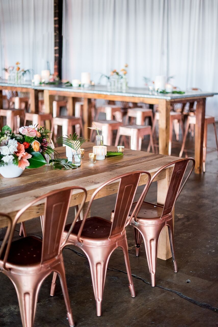 chair cover rentals washington dc lightweight camp chairs our zinc farm tables and copper stools were the perfect fit for this industrial meets tropical disco inspired wedding in
