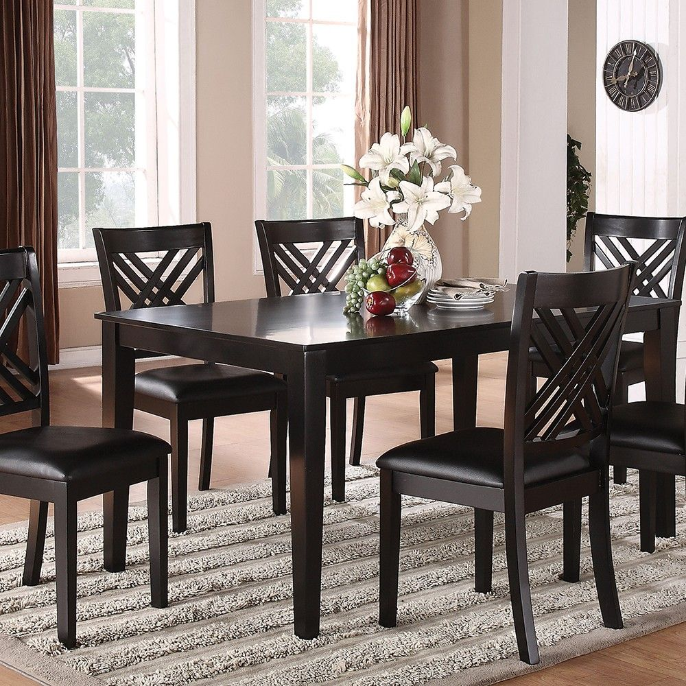 Standard Furniture 18762 Brooklyn Dining Room Set With A Table And Six Chairs In Black Finish