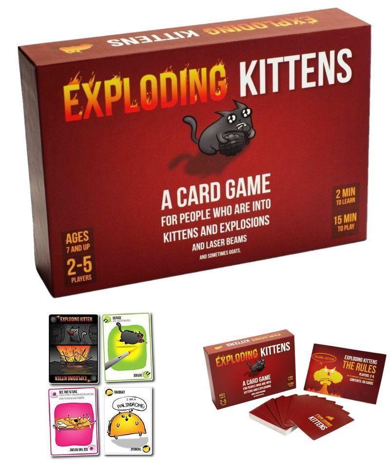 Exploding Kittens Card Board Games Xmas Best Gift Christmas Kids Children New Kittensllc Custom Exploding Kittens Exploding Kittens Card Game Card Games