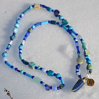 Blue Horn Necklace | Marquin Designs #Blue #Horn #Florentine #Tribal #Jewelry