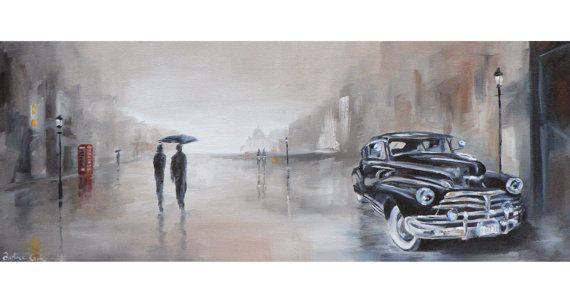 leichte Regen Giclee Kunstdruck einer Straße Szene im von atelier28, $22.00