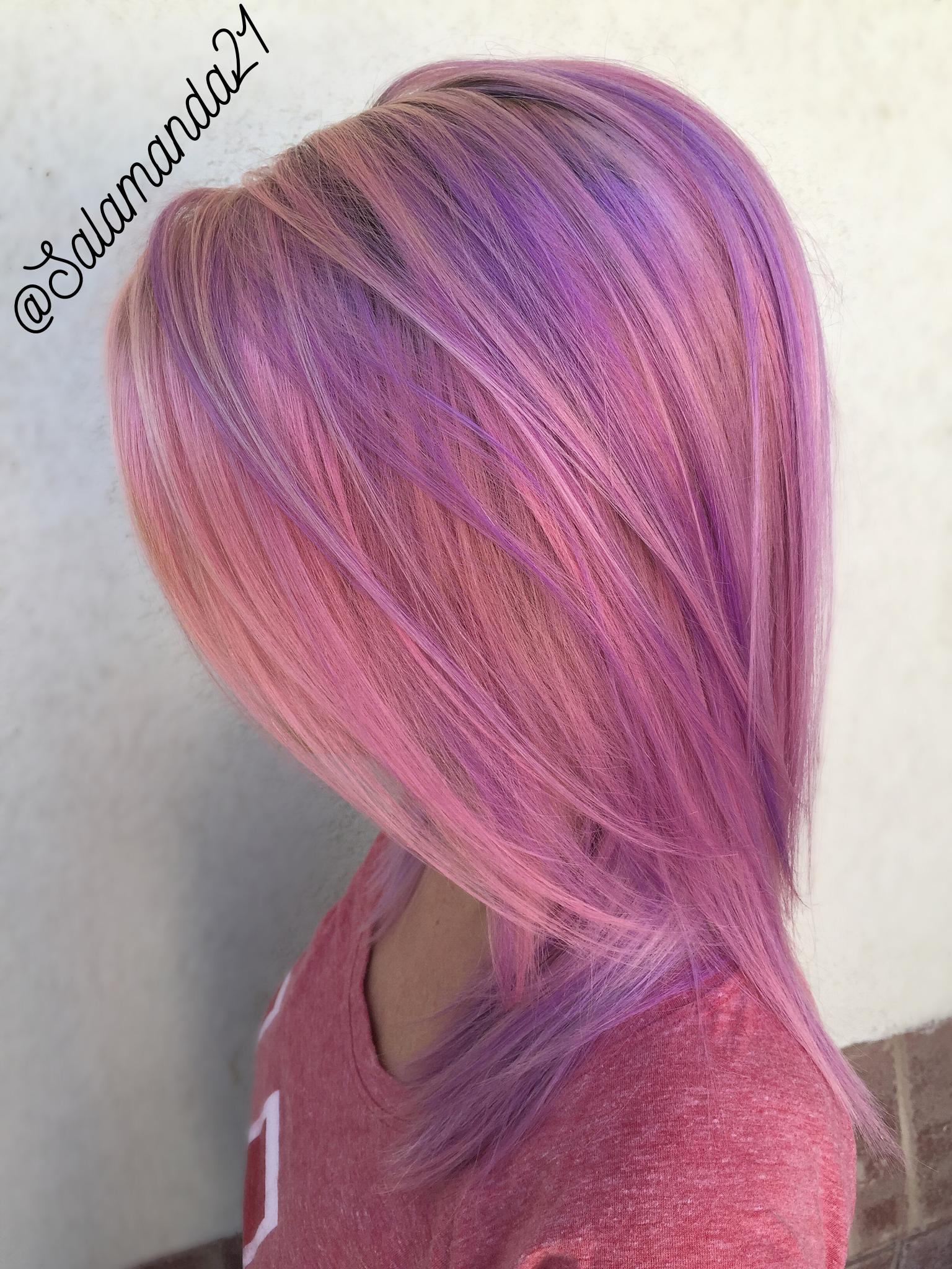 Pink and purple pastel hair done by manda heath salamanda hair
