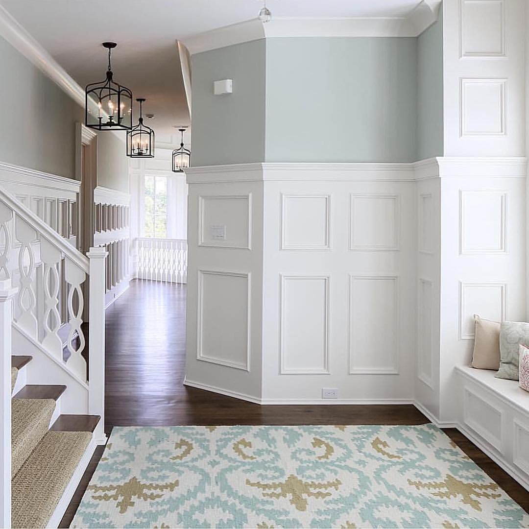 Pale robinus egg blue and white hallway u staircase house stuff in