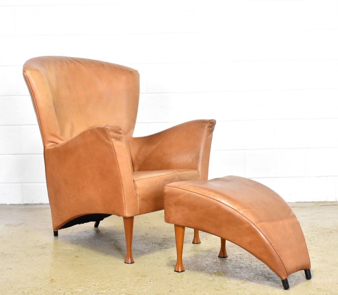 Montis Fauteuil Castor.Cognac Leather Castor Lounge Chair With Footstool By Gijs