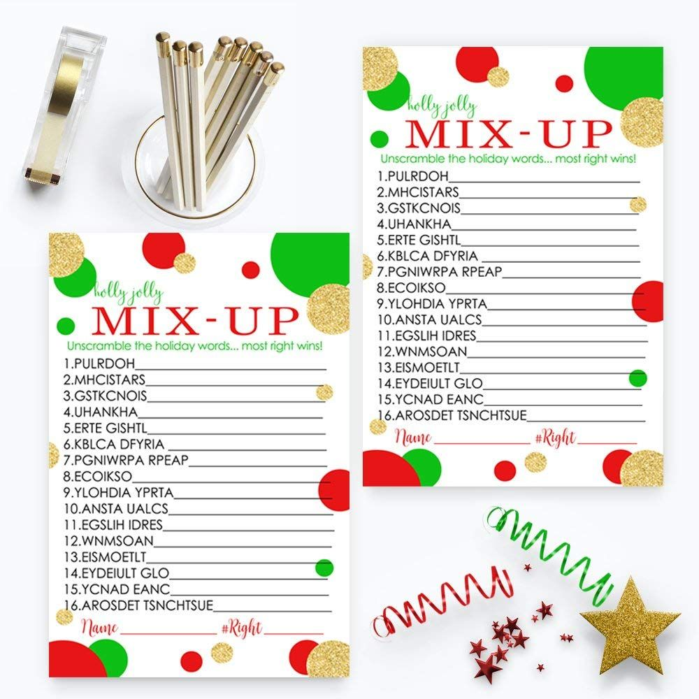 Red and Gold Christmas Word Scramble Party Game Set (25