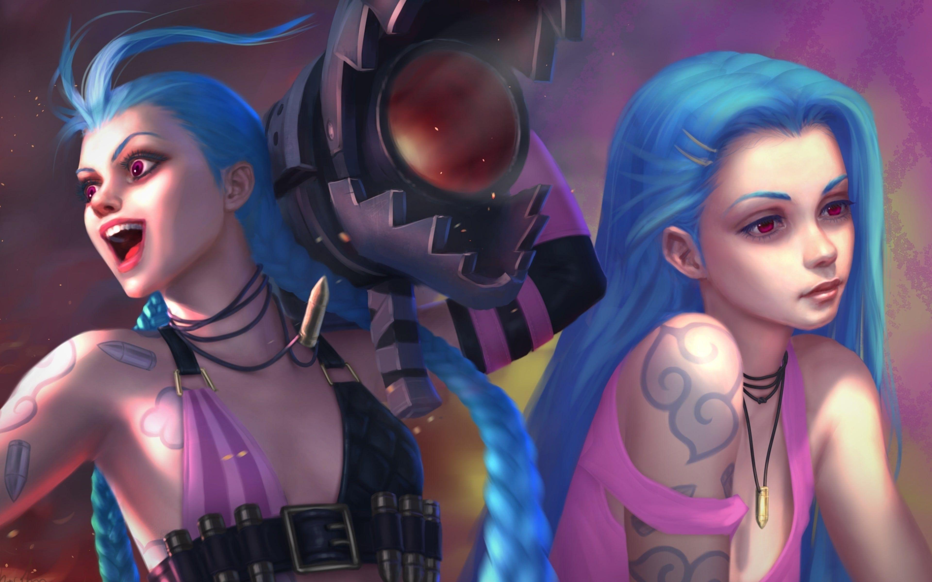 Anime Girl Wallpaper Hd Chubby Jinx Lol Blue Hair Game Girl Gaming Desktop Wallpapers